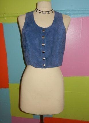 À vendre sur #vintedfrance ! http://www.vinted.fr/mode-femmes/autres-manteaux-and-vestes/18638872-veston-cuir-bleu-etam-chicromantique-boheme-t38-40