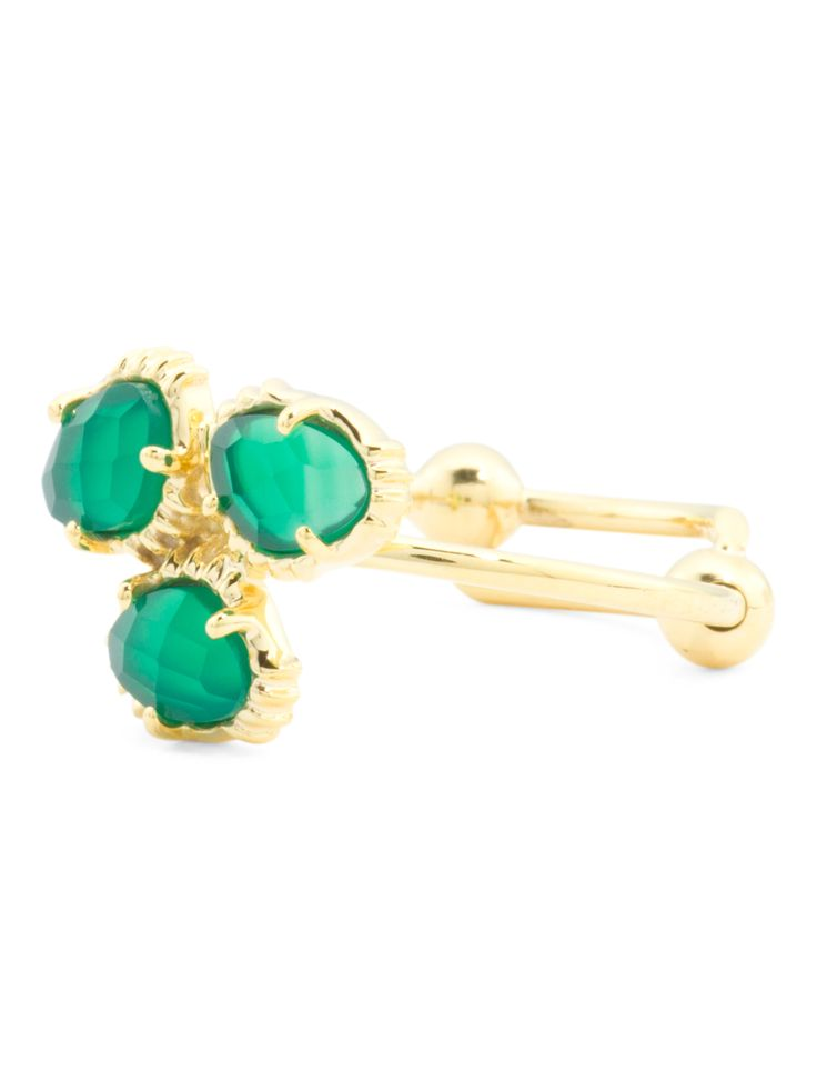 Made In India 14k Gold Plate Green Onyx Cluster Ring