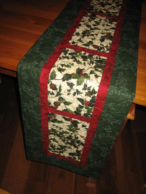 Christmas Table Runner Holly and Red Berries by TahoeQuilts