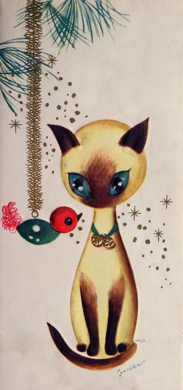 Vintage Christmas Card ~ 1950s Marjorie M. Cooper siamese cat.                                                                                                                                                     More