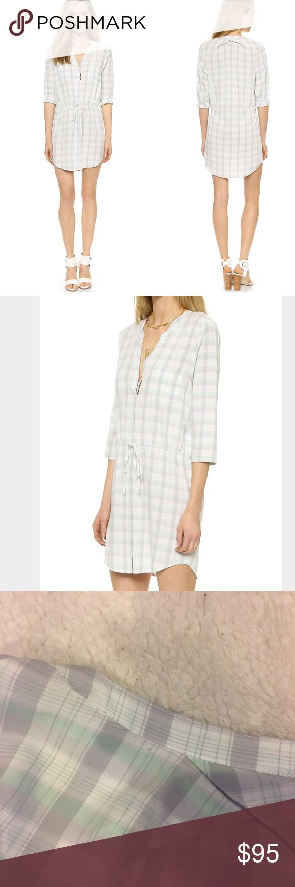 Soft Joie Drawstring Shirt Dress So cute and on trend. In great condition! Just a small (pretty unnoticeable) hole near collar.   Fabric: Lightweight weave. 100% rayon. Unlined Bust: 44 inches and Length: 36 inches  Oversized fit  No trades, please 0001231700tb Joie Dresses