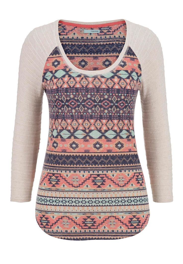 ethnic tee with knit sleeves - maurices.com