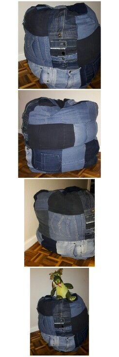 Project jean pant: Pouffe made from old jeans.