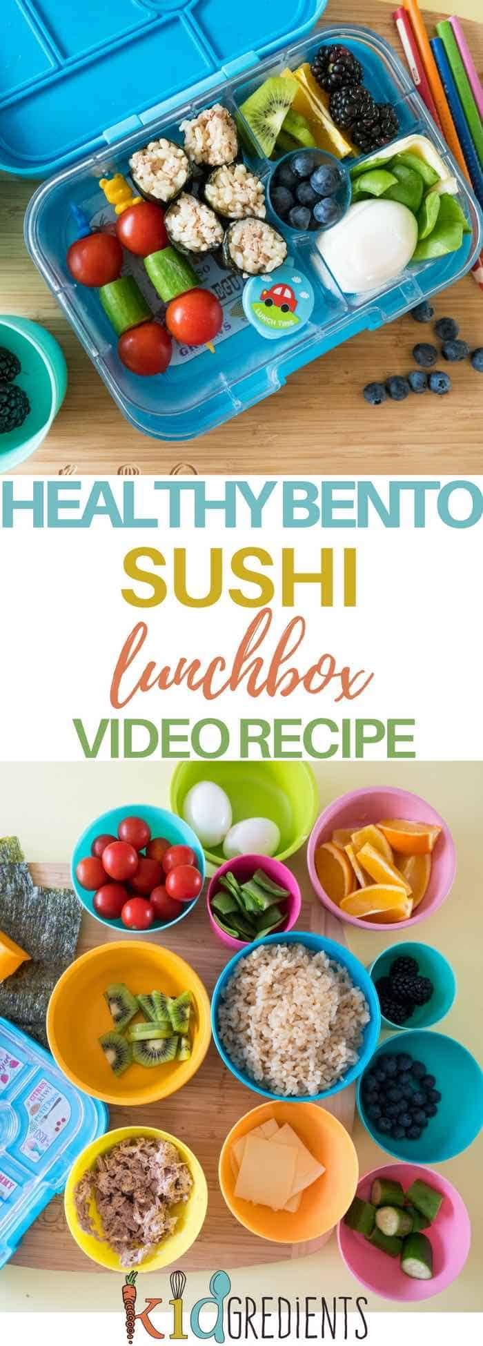 How to pack a healthy brown rice sushi bento lunchbox- complete with video recipe! #kidsfood #healthykids #