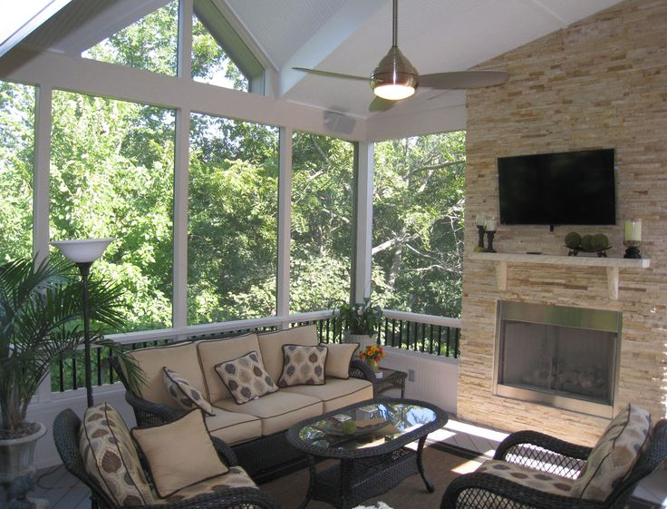 Modern Raleigh Screened-In Porch with Fireplace