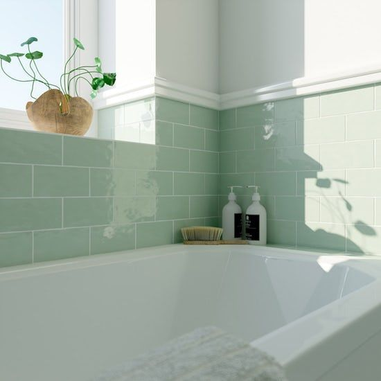 Laura Ashley Artisan Eau De Nil Green Wall Tile 75mm X 150mm Blue Bathroom Tile Blue Bathroom Duck Egg Blue Bathroom