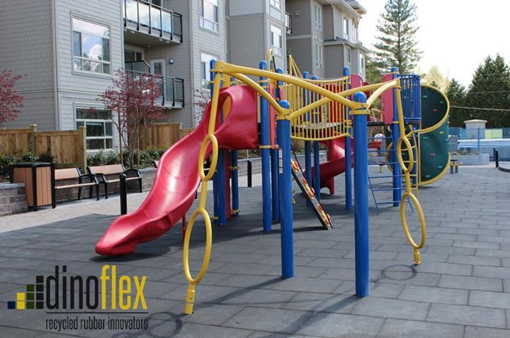 Facelift time!! Our playground tiles offer a simple and easy way to give any space a new look while providing the required fall height protection. These tiles are available in a variety of pigment and speckled colours. Visit Dinoflex www.dinoflex.com to start your project today! #UniquelyDifferent #Playground #Outdoor