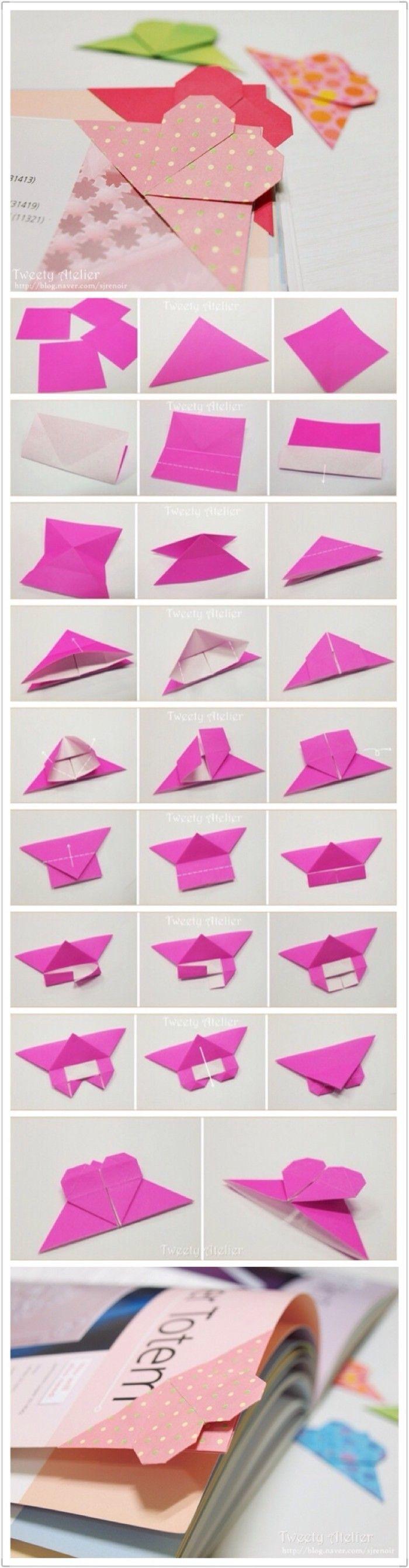 手工达人的心形折纸书签图解