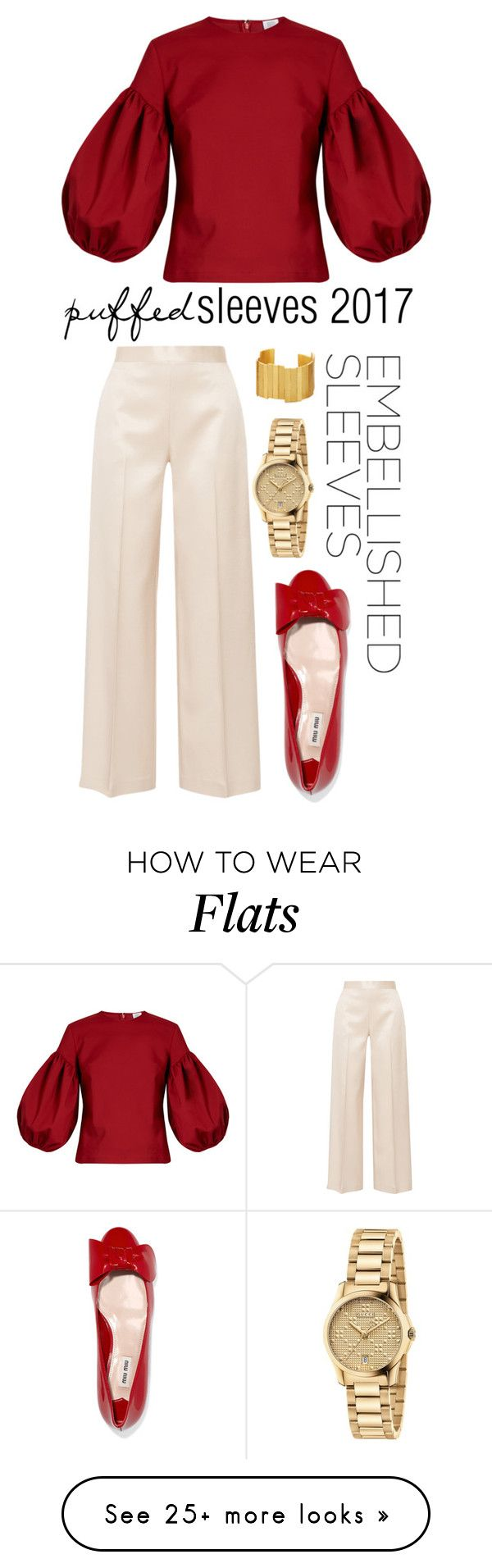 """""""Dramatic Chic"""" by discobubbles on Polyvore featuring Rosie Assoulin, Stephanie Kantis, Gucci, Miu Miu, The Row and embellishedsleeves"""