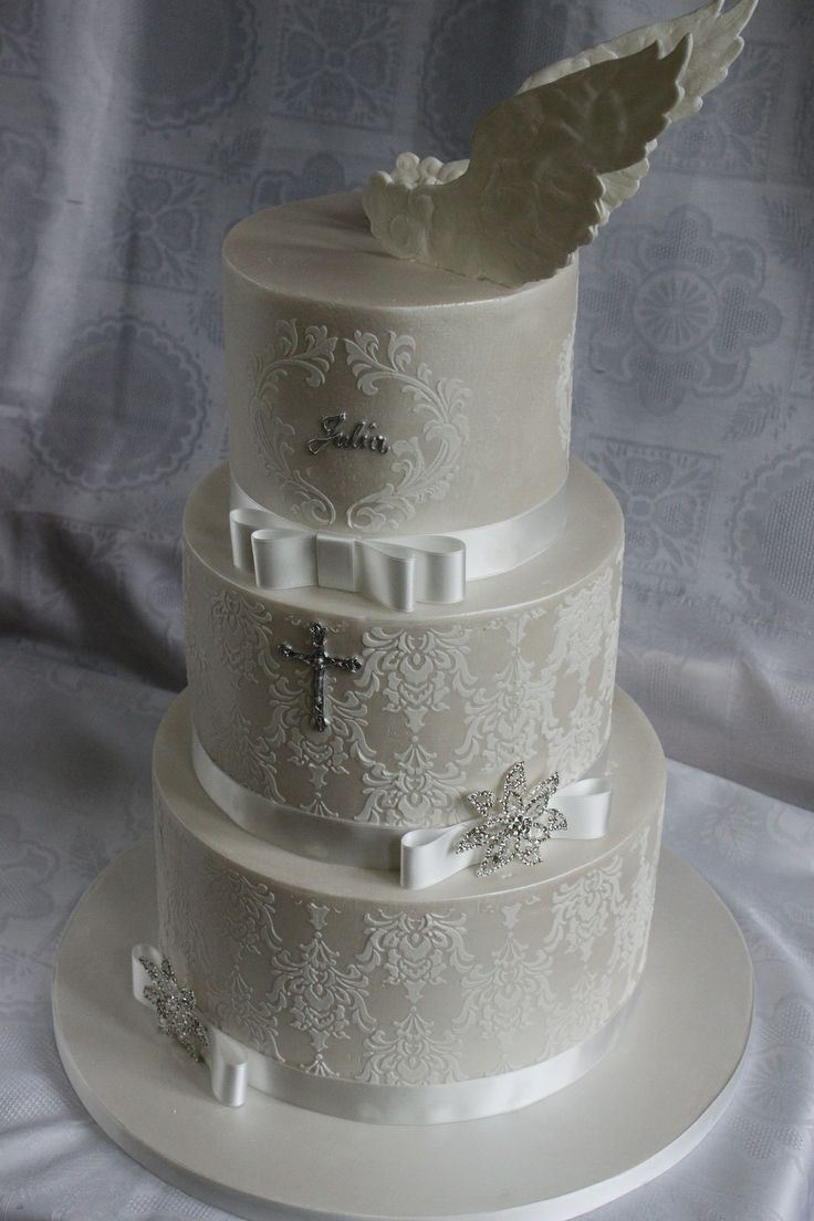 First Communion Cake - The idea for this cake comes from the cake found on The Internet by my customer.