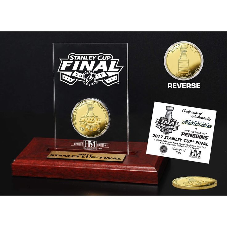 Highland Mint 2017 Stanley Cup Final Dueling Gold Coin Etched Acrylic