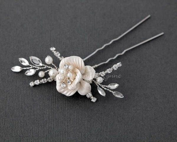 Porcelain Flower Bridal Hair Pin with Pearls