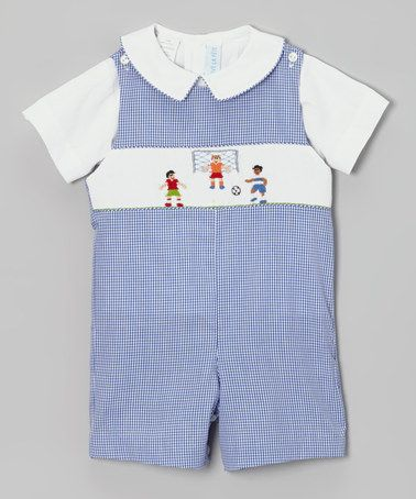 Take a look at this White Tee & Blue Gingham SoccerJohn Johns - Infant & Toddler by Vive La Fête on #zulily today!