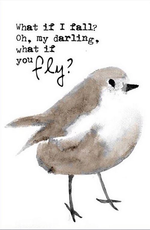 Poster Bird What if i fall? Oh, my darling, what if you fly? Prachtige poster met handgeschilderd vogeltje van By_Au3 Materiaal: 340 gram gesatineerd papier Formaat: A4 (210 x 297) - € 6,95