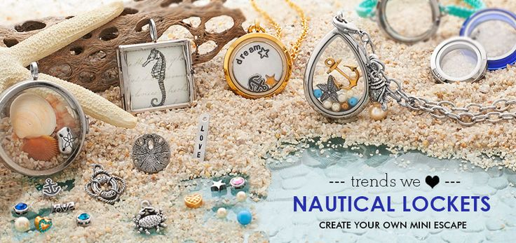 Nautical Lockets - The Beach is Closer than You Think! Escape the winter blues by creating a vacation in a locket. Pick from our large selection of keepsake, picture and shadow box lockets and add nautical and beach themed treasures, photographs, or charms. Take the beach home with you by adding a touch of sand and sea shells to one of our deeper shadow box lockets.