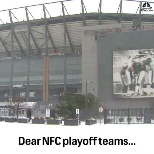 Hey NFC Playoff Teams In Those Warm Comfy Climates And Domes...... The Playoffs Go Through Philly  Thanks @nbcsphill #eagles #philadelphiaeagles #flyeaglesfly #lincolnfinancialfield #thelinc #lincolnfinancial #nfl #nflplayoffs #nfcplayoffs #nfc #nfceast #football #americanfootball #profootball #nflfootball #winter #snow #philadelphiapa #philadelphia #philly #instagram #instadaily #instagood #picoftheday #videooftheday #photooftheday #comments #comment #view #views