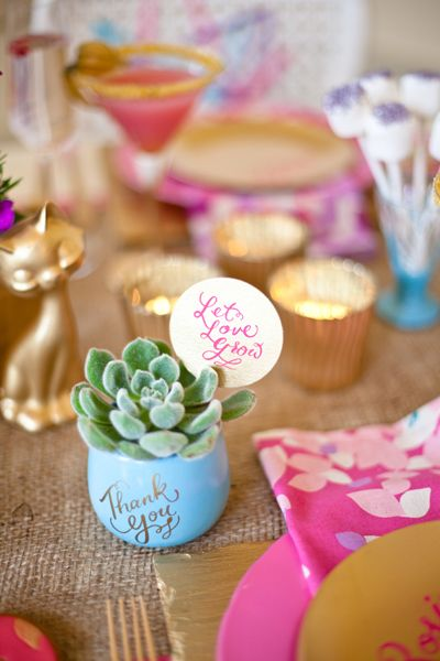 cute succulent favors-shower