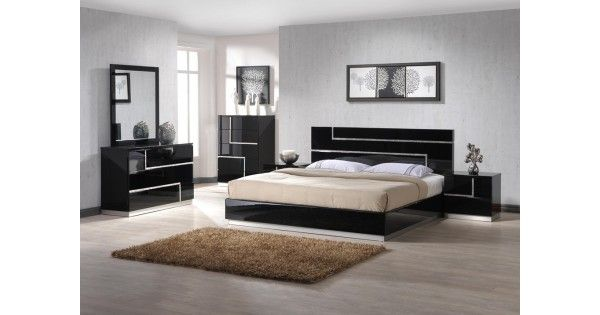 Lucca Bedroom set by J&M Furniture  Lucca Bedroom by J&M Furniture offers unique design and outlook of the modern bedroom. Beautifully complemented  with crystals, this black lacquered finish set will enhance the look of bedrooms of different sizes and colors. Whether