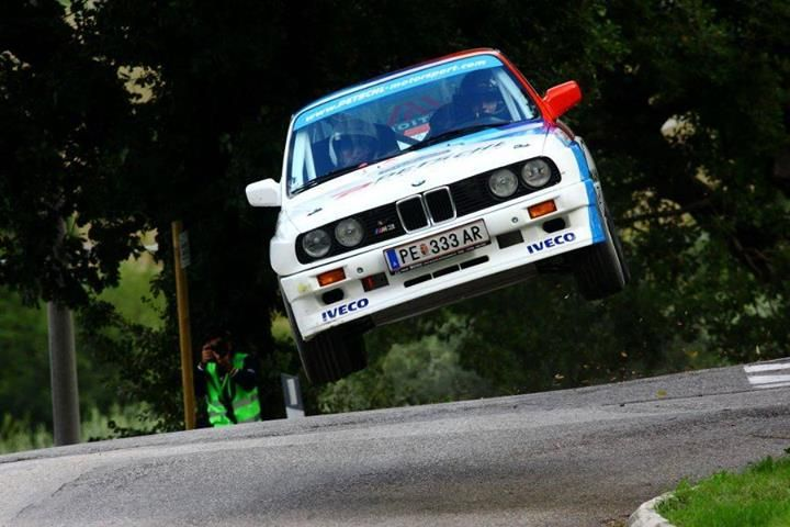 BMW E30 M3 flying high! BTW, he crashed