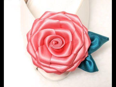 Diy ribbon roses, ribbon rosettes tutorial, how to make,flores de cinta - YouTube
