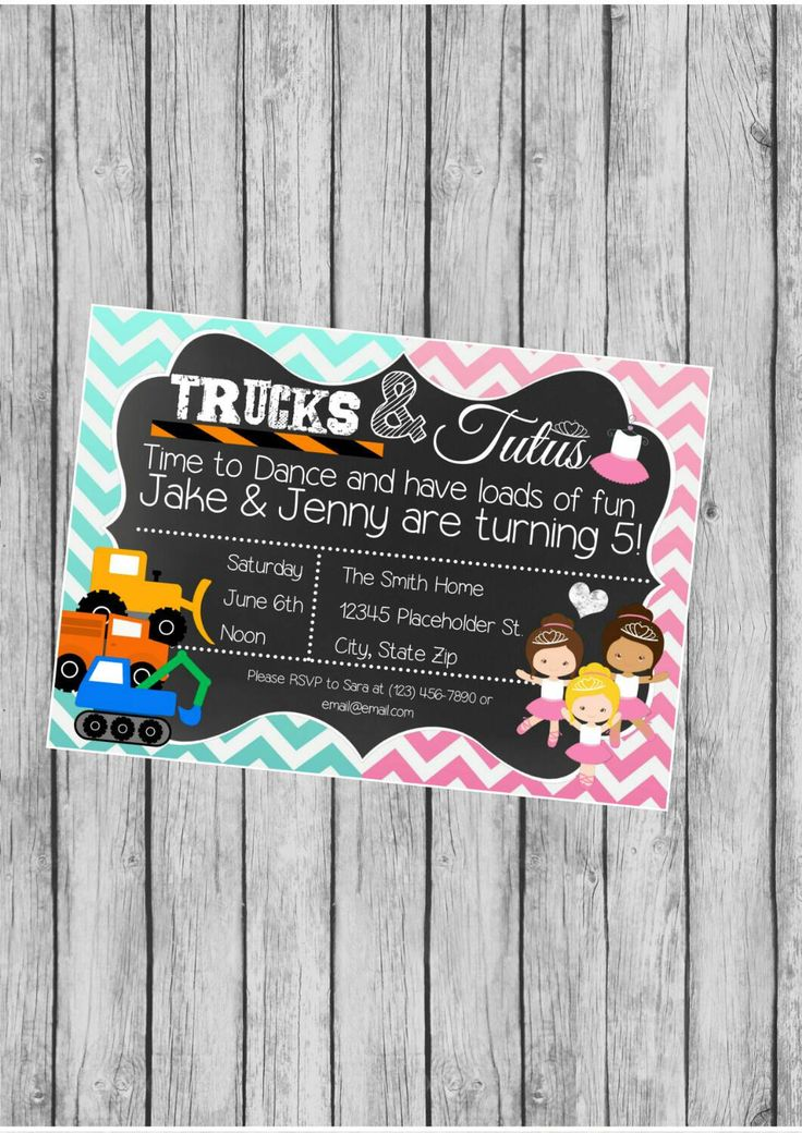Twin Birthday Party Invite - Trucks and Tutus - Chalkboard Invite -  DIY Printable File by CreativeKittle on Etsy https://www.etsy.com/listing/231794412/twin-birthday-party-invite-trucks-and