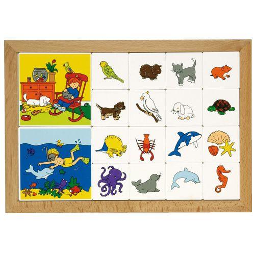 --- Rubriceerlotto dieren --- Twee inlegplanken rondom verschillende diergroepen waarbij de kinderen de kleine kaartjes met dieren bij de bijpassende voorbeeldplaat zoeken.   Beide inlegplanken kunnen door elkaar gebruikt worden, waardoor de oefening moeilijker wordt.  Formaat: 40 x 28 cm (l x b). 522 109