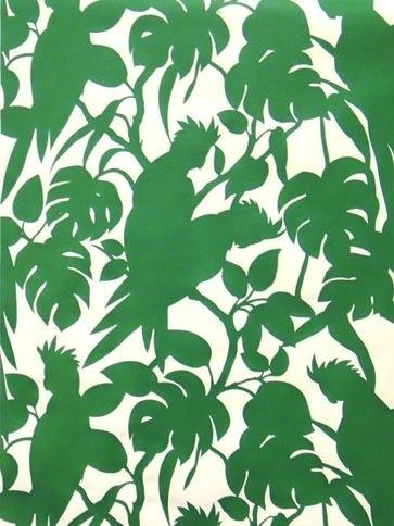 #Cockatoos #wallpaper in Matt White & Grasshopper Pearl by Florence #Broadhurst for Signature Prints. More #Australiana on the RSD Blog www.rsdesigns.com.au/blog/ #green #birds #bush #foliage #design