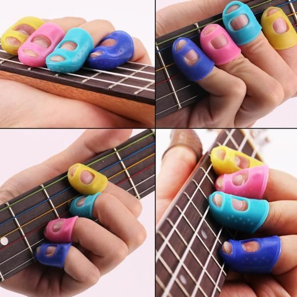 4PCS Guitar Fingertip Protectors Finger Guards For Ukulele Guitar Accessories #Unbranded
