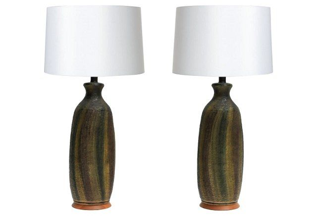 Green Midcentury Table Lamps, Pair