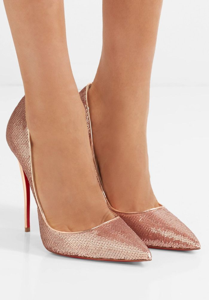 CHRISTIAN LOUBOUTIN So Kate 120 sequined canvas pumps | Buy ➜ https://shoespost.com/christian-louboutin-kate-120-sequined-canvas-pumps/