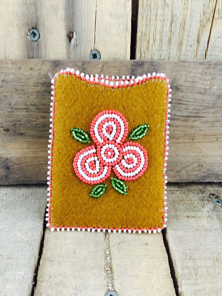 Cardholder with red and white beaded flowers and trim  #Esawa #Handmade #Redflowers #Cardholder
