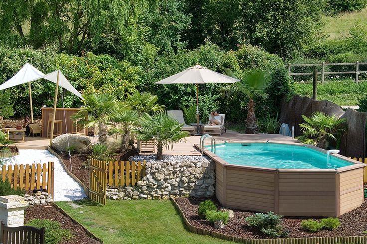 AZTECK-#Pools können dank der selbsttragenden, patentierten Konstruktion sowohl komplett frei auf dem Boden aufgestellt als auch ganz oder teilweise im Boden versenkt werden.