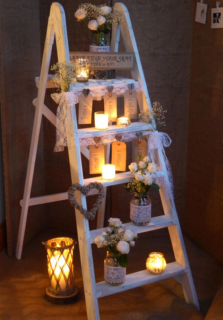 Seating Plan - Find your seat. Rustic, Shabby Chic, Ladder table plan. Looks very pretty decorated with lace, jam jars of roses, gypsophila baby's breath and candles. www.thelilylocket.co.uk