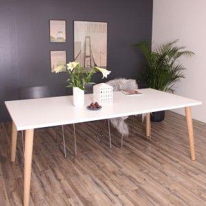 Sandefjord spisebord i hvid højtrykslaminat. Made in Denmark