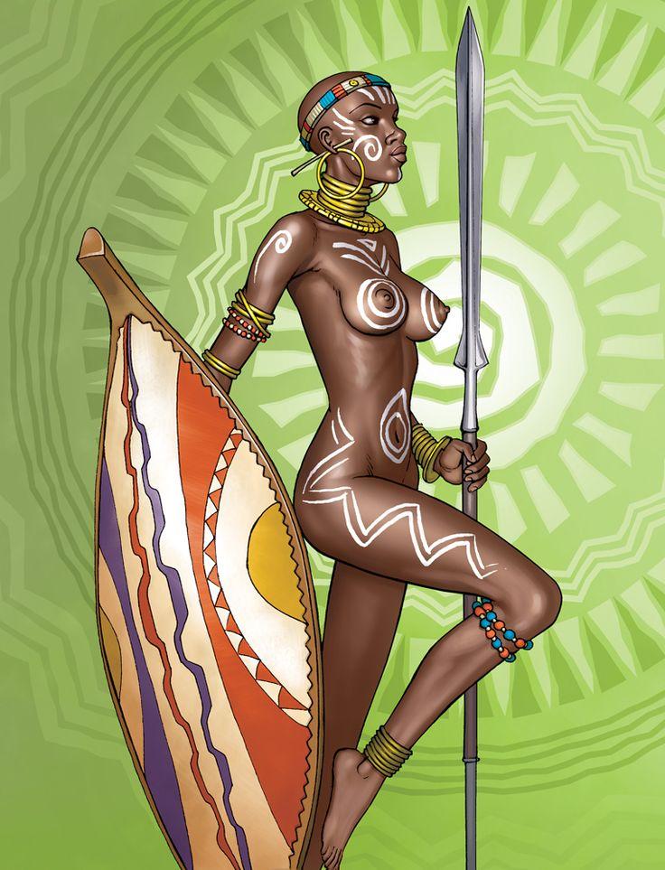 Nude Ebony Warrior Woman 98