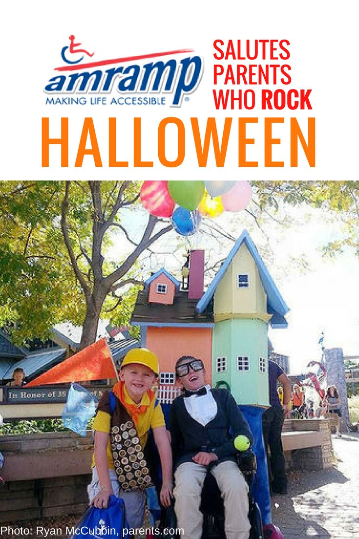 Amramp Wheelchair Costume - Carl and Russell from the Disney movie « Up » are ready to go on an adventure this Halloween!