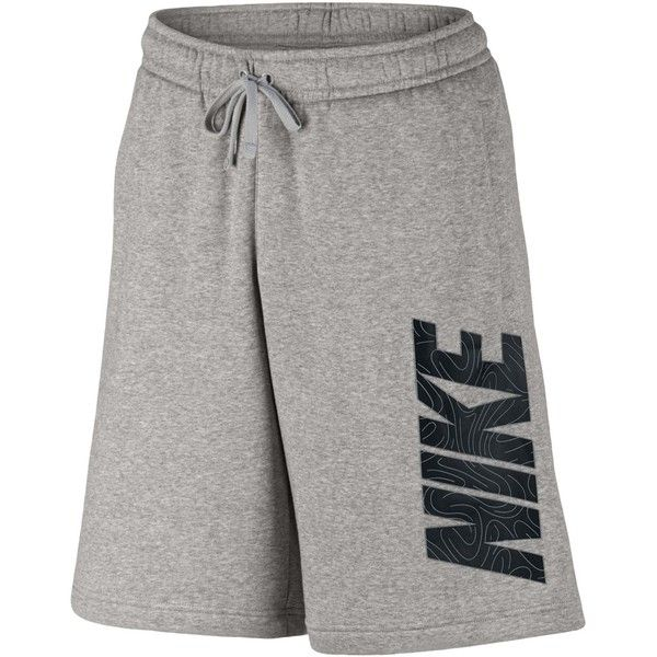 Nike Men's Logo Sweat Shorts ($30) ❤ liked on Polyvore featuring men's fashion, men's clothing, men's activewear, men's activewear shorts, dark grey heather, mens sweatshorts, mens activewear shorts and mens activewear