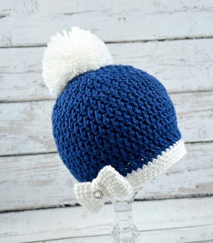 crochet girls blue hat,pom pom blue hat,girls blue pom pom hat,toddler girl pom pom hat,crochet winter hat,baby girl winter hat,blue beanie. by BabyWonderCrochets on Etsy