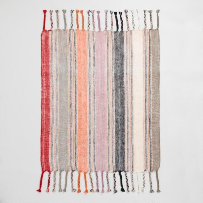 Warm Multi Stripe Boho Throw Blanket V2 Boho Throw Blanket Couch Blanket Living Room Accessories