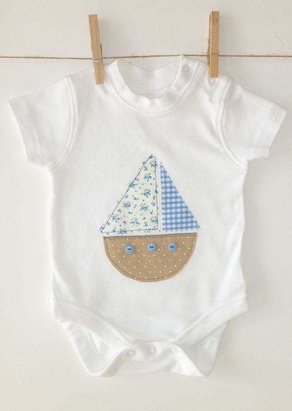 boat applique onesie/bodysuit short sleeve sizes 0-12 made to order