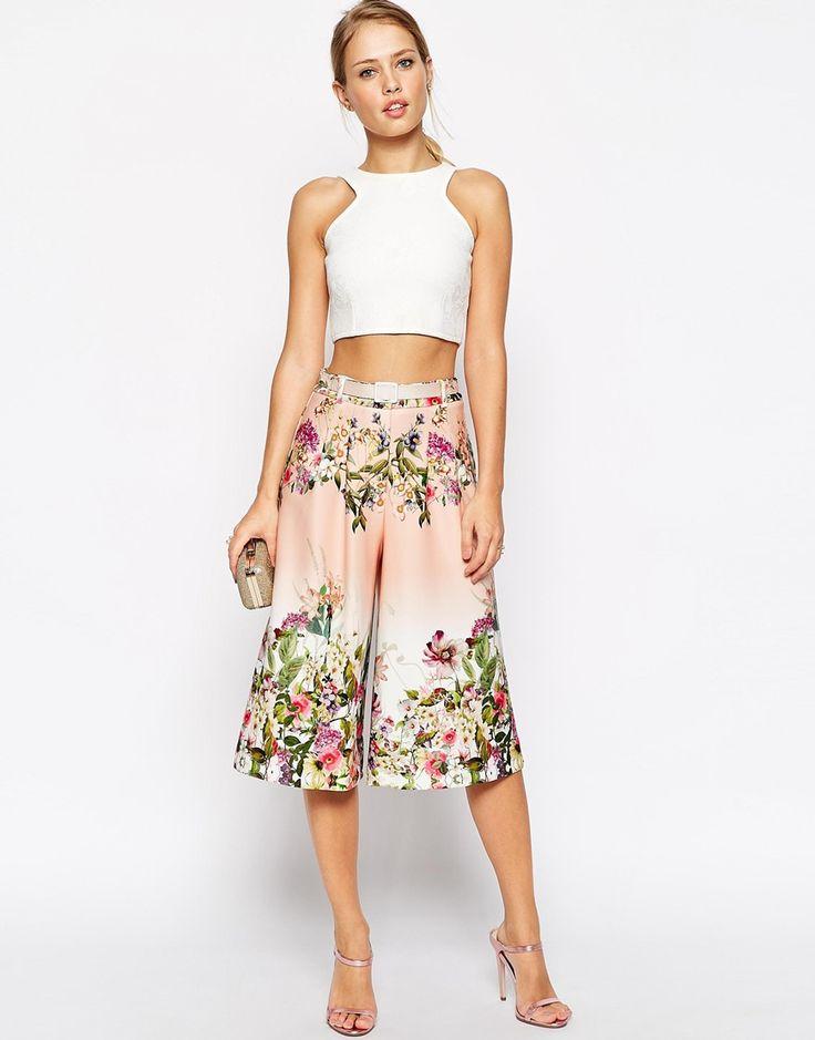 ASOS Premium Scuba Culotte in Garden Floral Print