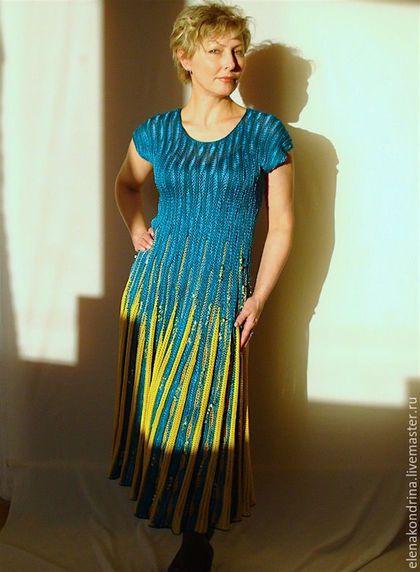 """Платья ручной работы. Ярмарка Мастеров - ручная работа. Купить Платье""""Морская волна"""". Handmade. Морская волна, трикотаж кондриной, вискоза"""