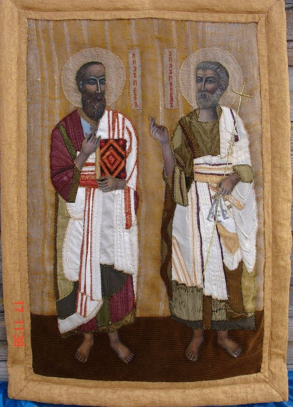Orthodox Icon St. Pyotr and Pavel  by KingSizeQuiltsQueen on Etsy