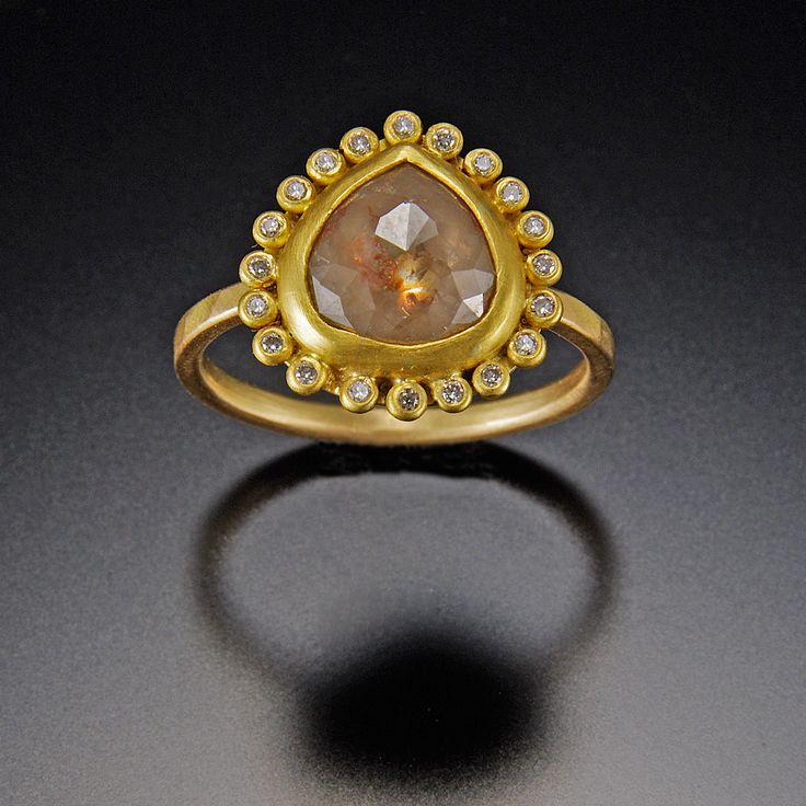gold teardrop ring | Teardrop Diamond Ring with Diamond Halo | Ananda Khalsa Jewelry