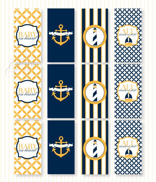 Nautical Baby Shower PRINTABLE Mini Candy Bar Wrappers from Love The Day. $8.00, via Etsy.