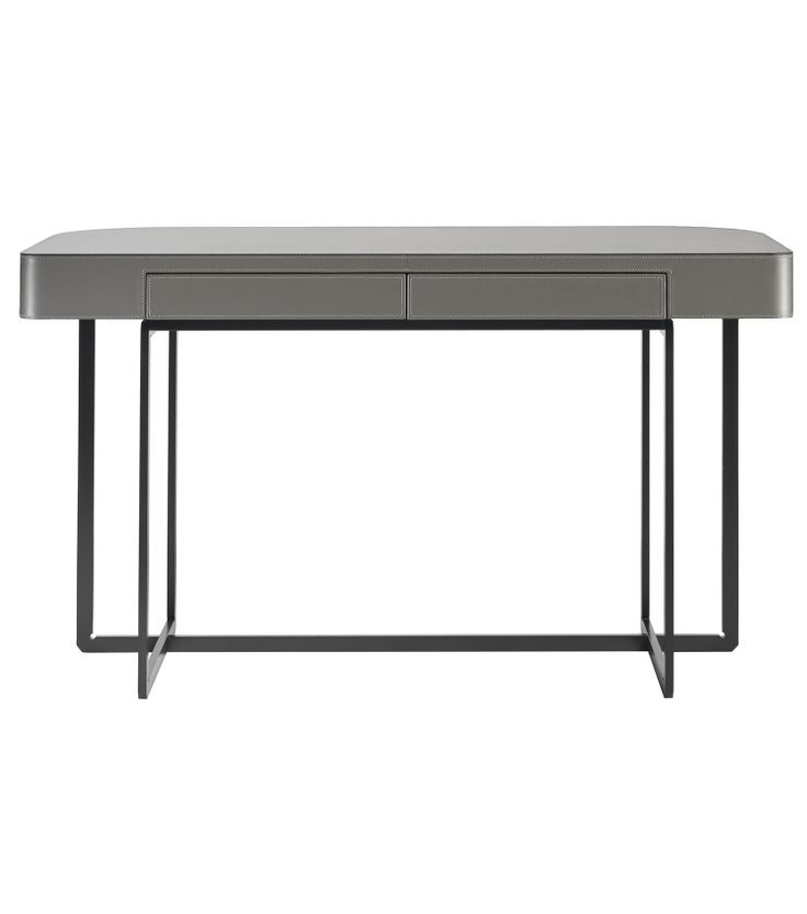 MarmadukeFlexform Writing Desk Marmadukedesigned by Roberto Lazzeroni for Flexform is a writing desk from the Mood collection. Metal structure and wooden top with upholstery in saddle leather available in different finishes.