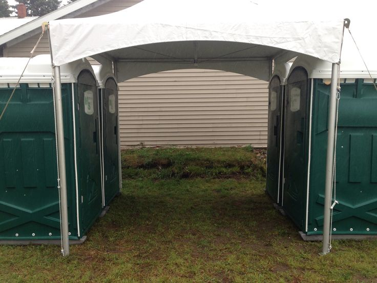 Great way to protect guests from bad weather, cover the porta-potties with a 10' x 10' frame tent!  We can also connect the porta-potty tent to the main tent with marquee tents.  Contact Taylor Rental at 518-3214-5100 or www.taylorrentalny.com to inquire or make reservations for your wedding or special event.