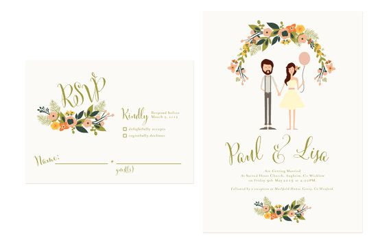 $195.00 Digital File only Playful Spring Wedding Invites /// Illustrated by heartandfox,