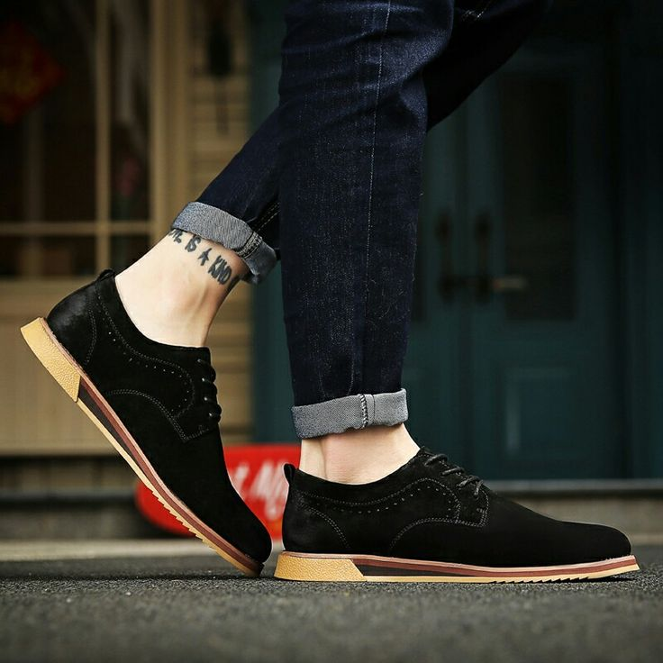 US $30 New Arrival Men Casual Shoes Italian Man Suede Flats Shoes Fashion Anti Slip Lace-Up Oxford Male Moccasins Plus Size Shoes