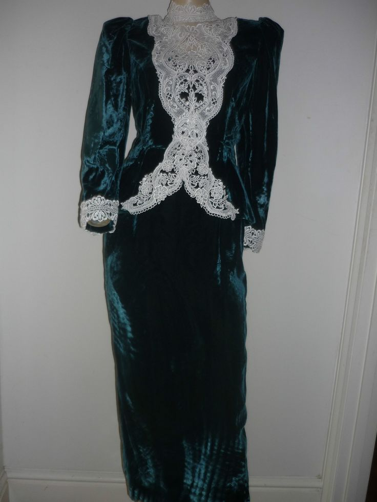 Green velvet (dress? skirt suit? I don't know) with lace insert, 1980s.